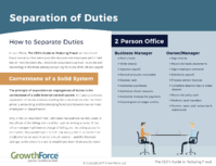 Reduce Fraud - Separation of Duties